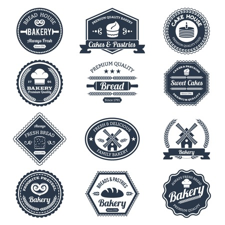 Bakery labels black set with premium quality bread and cakes emblems isolated vector illustration