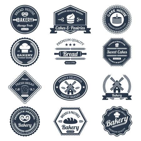 Bakery étiquettes ensemble noir avec du pain et des gâteaux de qualité supérieure emblèmes isolée illustration vectorielle Banque d'images - 35957563
