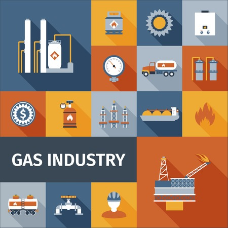natural gas: Gas industry renewable eco fuel icon flat set isolated vector illustration Illustration