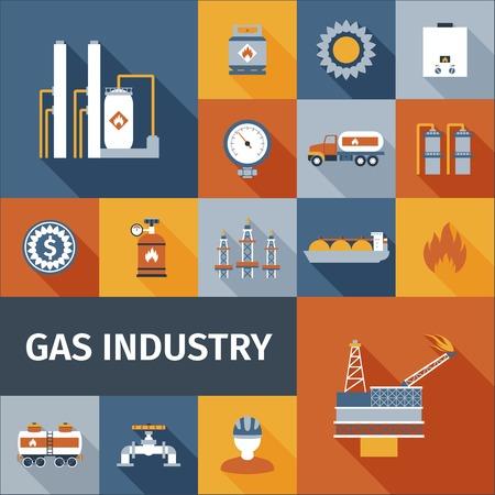 recursos naturales: Industria del gas ecol�gico renovable icono combustible conjunto plana aislado ilustraci�n vectorial Vectores