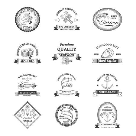 mariscos: Mariscos restaurante bar sushi tienda n�utica retro emblemas conjunto aislado ilustraci�n vectorial