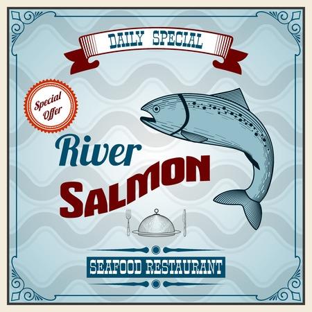 salmon fish: Seafood restaurant retro poster with river salmon fish vector illustration