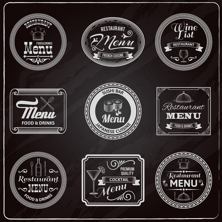 cocktail bar: Retro menu french cuisine japanese restaurant labels chalkboard set isolated vector illustration