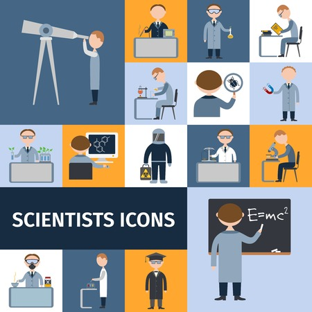 science icons: Scientists character icon set with mathematician explorer chemist physicist avatars isolated vector illustration Illustration