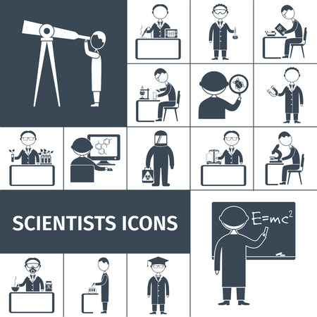 astrologer: Scientist icons black set with science occupation professional staff characters isolated vector illustration