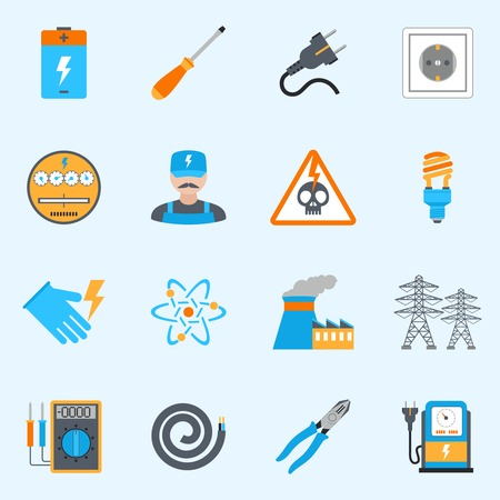 electricity pylon: Electricity icons set with voltmeter wire screwdriver electrician warning sign isolated vector illustration