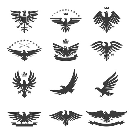 air force: Eagle silhouettes bird heraldic symbols icons black set isolated vector illustration