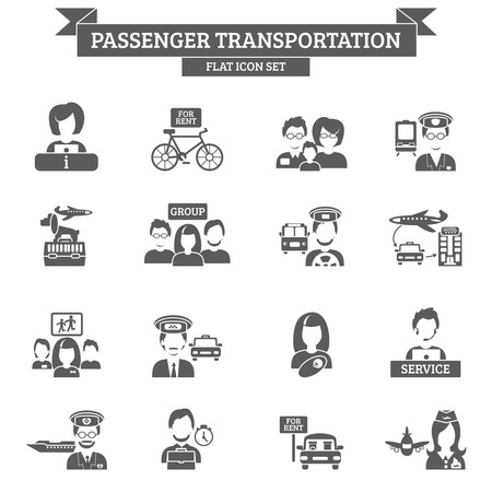 passenger transportation: Passenger transportation black icon set with driver captain stewardess isolated vector illustration