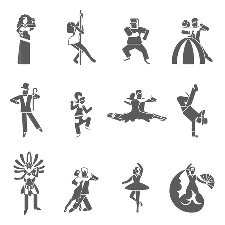 Dancing styles black icon set with elegant dressed couples isolated vector illustration