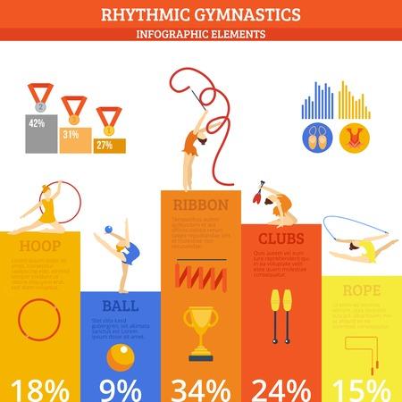 gimnasia ritmica: Gimnasia r�tmica infograf�a establecidos con sport y fitness s�mbolos y gr�ficos ilustraci�n vectorial Vectores