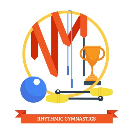 Rhythmics gymnastic concept with ribbon ball cup jumping rope sport equipment vector illustration