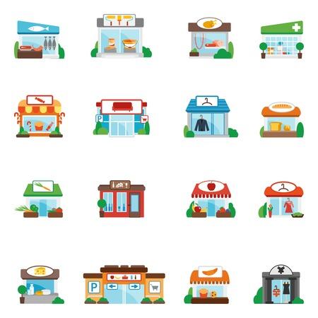 tiendas de comida: Store y compra edificios comerciales restaurantes iconos planos conjunto aislado ilustraci�n vectorial