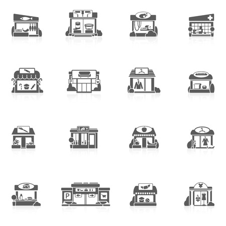 small business computer: Store buildings market small restaurants black icons set isolated vector illustration