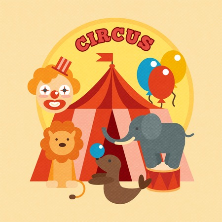 circus caravan: Circus performance poster with tent clown and lion elephant sealion animals flat vector illustration