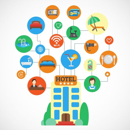 plate camera: Hotel accommodation design concept with flat icons set vector illustration