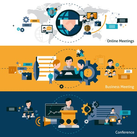 quality: Business meeting banners set with online business conference elements isolated vector illustration