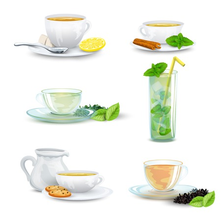 tea and biscuits: Green black herbal iced tea decorative icon set isolated vector illustration