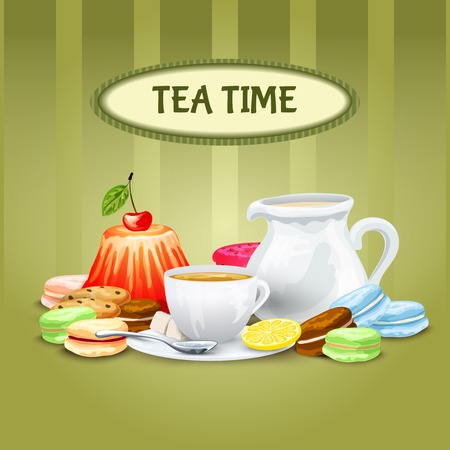 cup and saucer: Tea time poster with sweet food cookies macaron cup saucer pot vector illustration Illustration