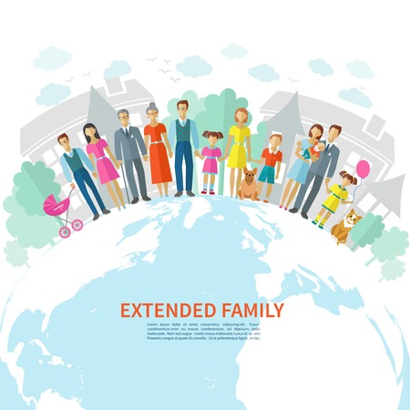 Extended family poster with flat men women children and pets on globe vector illustration Vectores