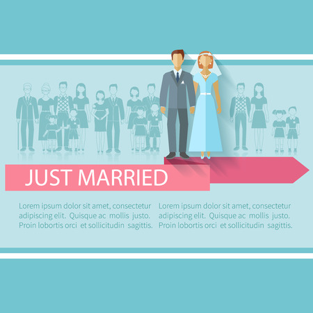 wedding reception: Wedding poster with just married couple and extended family guests flat vector illustration