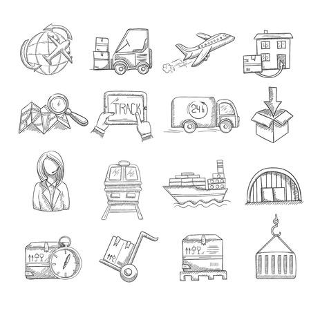 Logística e iconos decorativos croquis negocio de servicio de entrega conjunto aislado ilustración vectorial Foto de archivo - 35957412