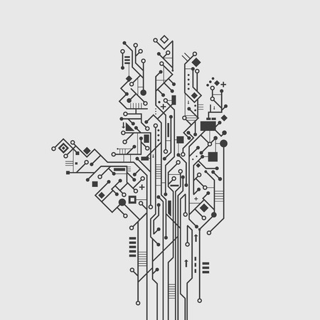 electronic components: Computer circuit board in hand shape creative technology poster vector illustration