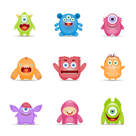 monster face: Group of monster alien mutant colorful character set isolated vector illustration Illustration