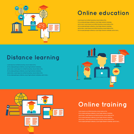 elearning: Online education flat horizontal banners set with distance learning and training elements isolated vector illustration