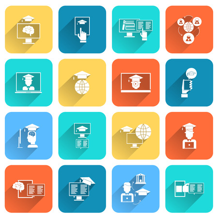 Online education digital research distance learning icons flat set isolated vector illustration Vector