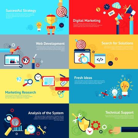 mercadotecnia: Internet concepto de diseño establecido con éxito la estrategia de marketing digital de iconos de desarrollo web ilustración vectorial aislado