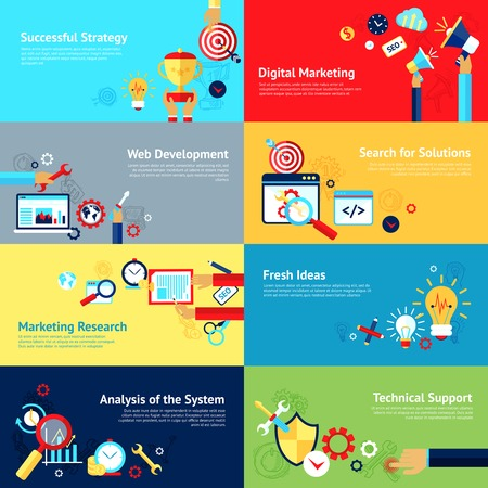 marketing research: Internet design concept set with successful strategy digital marketing web development icons isolated vector illustration