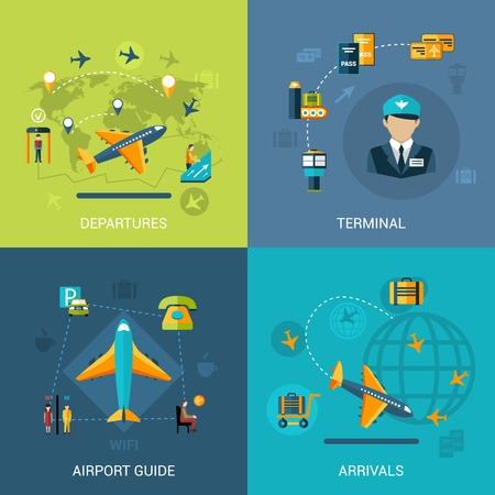 Airport design concept set with departures arrival terminal guide flat icons isolated vector illustration