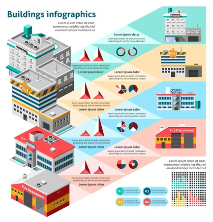 ports: Buildings infographics set with charts and isometric hospital fire station school vector illustration