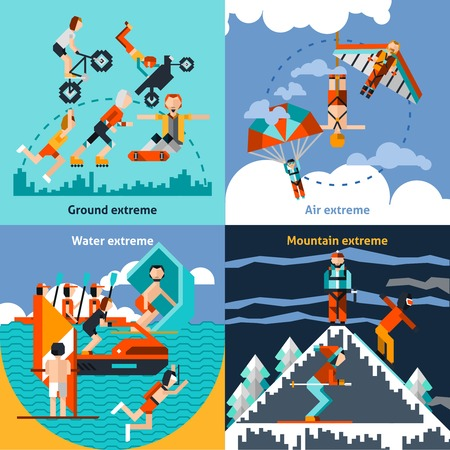 leisure activities: Extreme ground water air mountain sports set isolated vector illustration