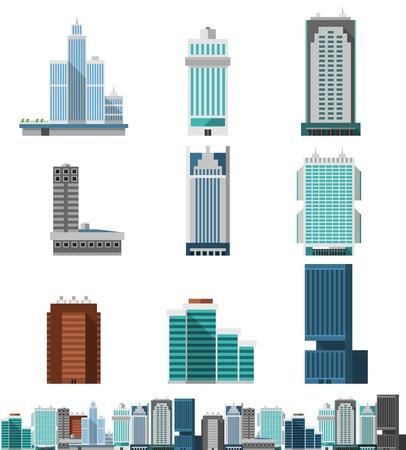 construcci�n: Oficinas del rascacielos edificios comerciales planas establecen con horizonte de la ciudad icono decorativo ilustraci�n vectorial Vectores