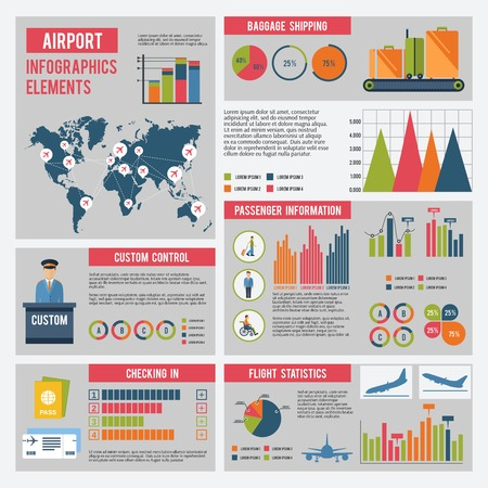 air traffic: Airport infographics set with flying control elements charts and world map vector illustration