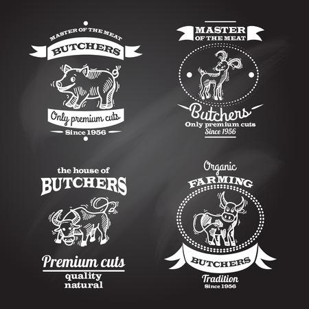 Farm animals premium organic meat chalkboard label set isolated vector illustration Vector