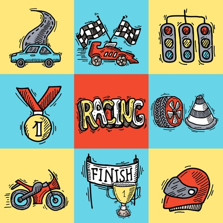 bolide: Racing design concept set with auto sport sketch decorative icons isolated vector illustration