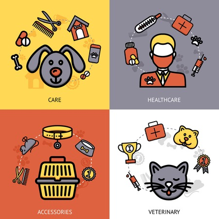 Veterinary design concept set with pet care healthcare accessories flat icons isolated vector illustration Vector