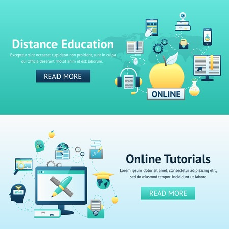 online book: Online education design concept set with distance tutorials decorative icons isolated vector illustration