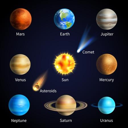 Planetas del sistema solar realistas y objetos espaciales conjunto aislado ilustración vectorial Vectores