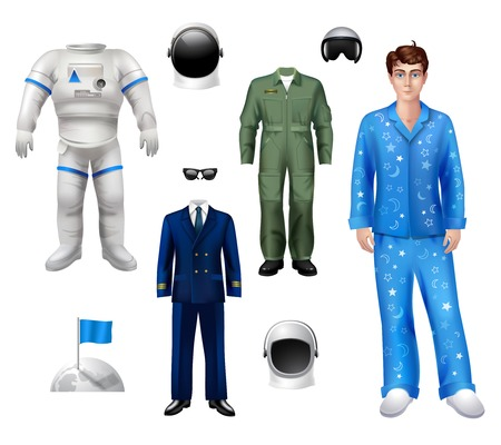 astronaut: Paquete car�cter Muchacho del astronauta que establece con casco aislado traje traje ilustraci�n vectorial Vectores