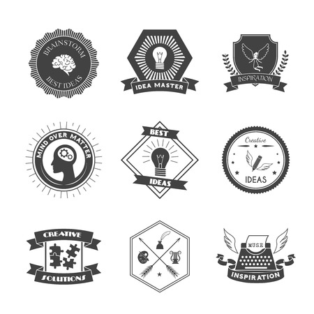 muse: Muse brainstorm creative solution and inspiration label set isolated vector illustration