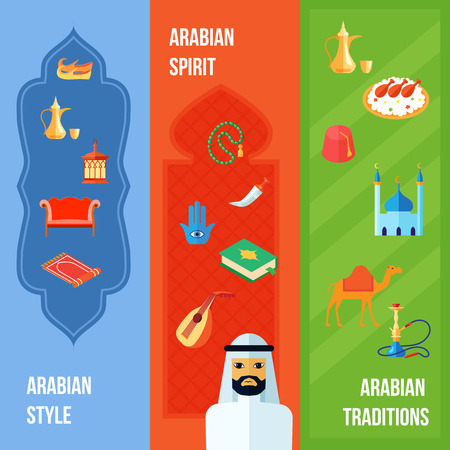 traditions: Arabic culture flat vertical banner set with arabian style spirit and traditions elements isolated vector illustration