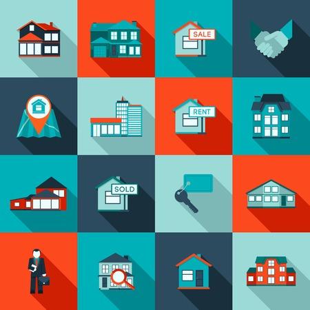 Onroerend goed huis woonappartementen icon flat set geïsoleerd vector illustratie Vector Illustratie