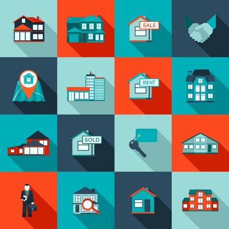 apartment       buildings: Real estate house residential apartment icon flat set isolated vector illustration