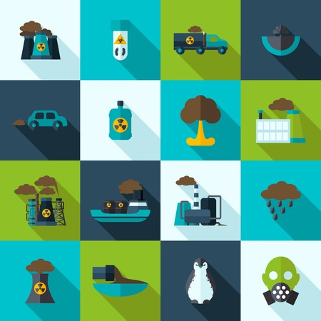 bacteriological: Pollution flat icons set with plant waste ocean contamination isolated vector illustration