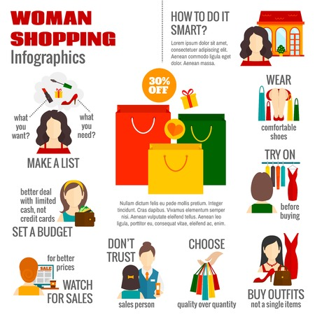 shopping list: Woman budget shopping list planning infographic poster with smart choosing quality sale strategy options abstract vector illustration