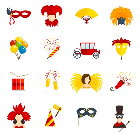 masquerade masks: Carnival party festive costumes venetian style masquerade masks flat icons collection with clown abstract vector isolated illustration Illustration