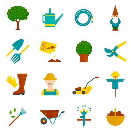 irrigation: Country orchard  vegetable garden harvest flat pictograms collection with irrigation system symbols abstract isolated vector illustration